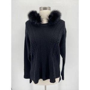 Qi Cashmere Black Faux Fur Hood Cashmere Sweater